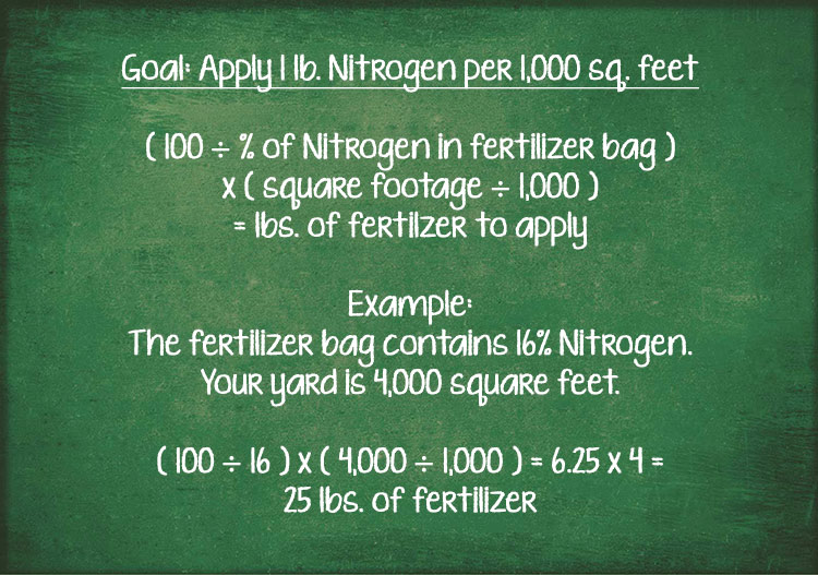 A formula for calculating the amount of fertilizer to use based on the amount of nitrogen in the fertilizer.